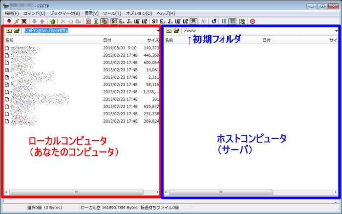 FFFTPローカルとホスト