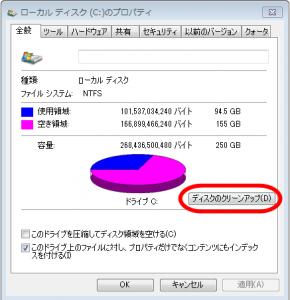 ディスククリーンアップ、Win7