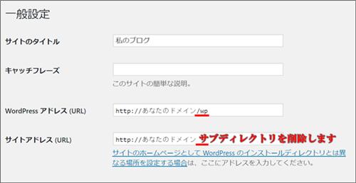 サブディレクトリにインストールしたワードプレスのブログをドメインのみの表示にしたい